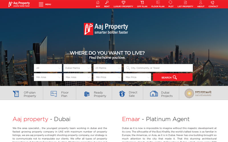Web Design & Development for Aaj Property