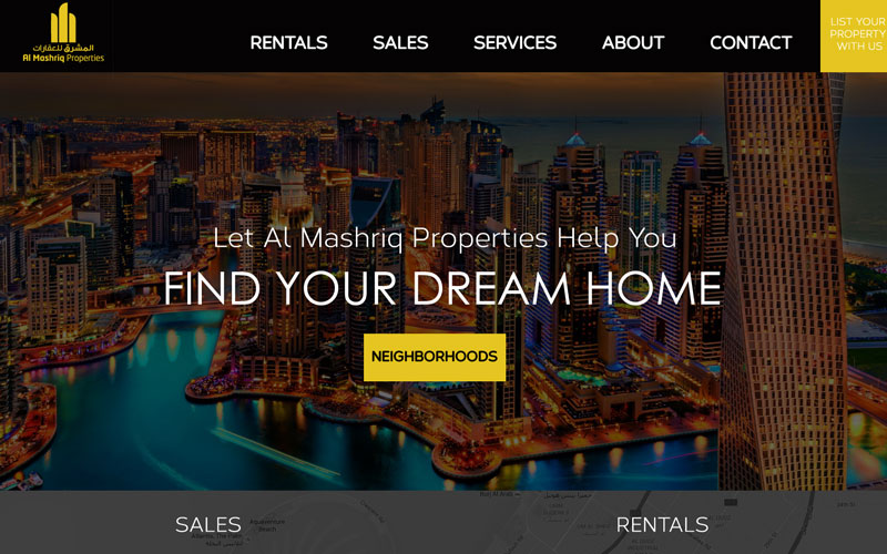 Real Estate web design and development for Al Mashriq