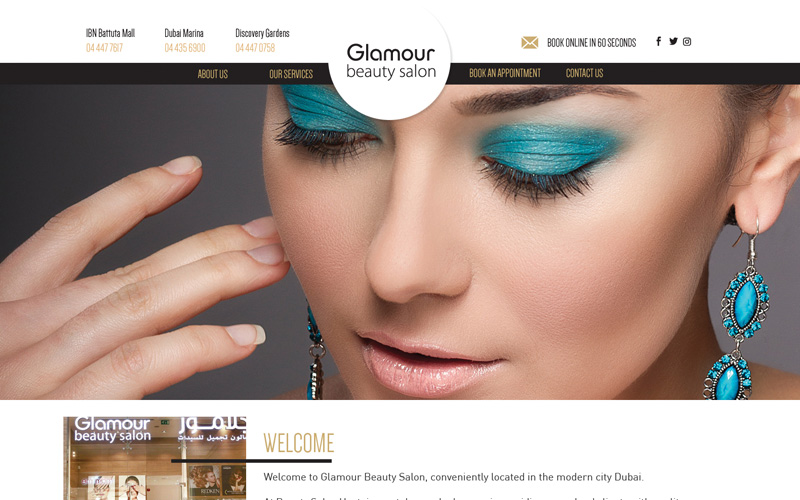 Website design and development for Glamour Salon